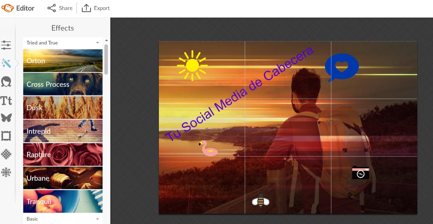 Opciones de PicMonkey para editar imágenes